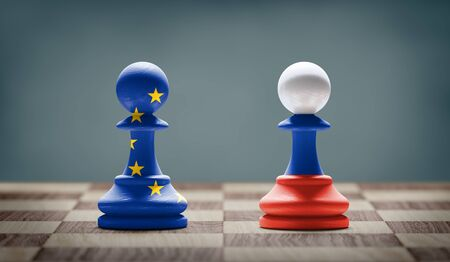 European Union and Russia conflict. Flags on chess pawns on a chess board. 3D illustration.