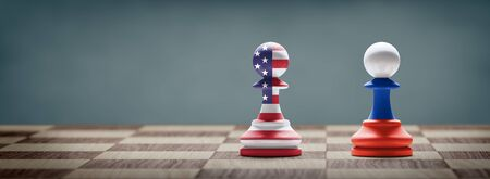 USA and Russia conflict. Country flags on chess pawns on a chess board. 3D illustration. Archivio Fotografico