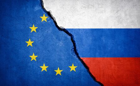 EU and Russia conflict. Country flags on broken wall. Illustration.