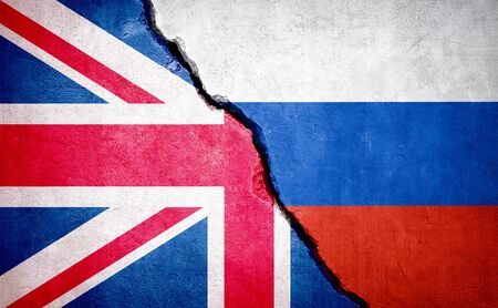UK and Russia conflict. Country flags on broken wall. Illustration.