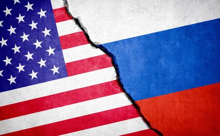 USA and Russia conflict. Country flags on broken wall. Illustration.