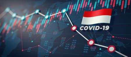 COVID-19 Coronavirus Indonesia Economic Impact Concept Image.