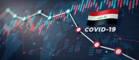 COVID-19 Coronavirus Iraq Economic Impact Concept Image. Imagens