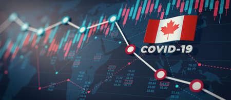 COVID-19 Coronavirus Canada Economic Impact Concept Image. Foto de archivo