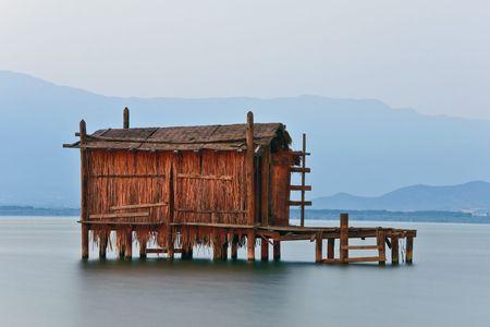 Macedonian Dojran lake landscape at dusk – long exposition