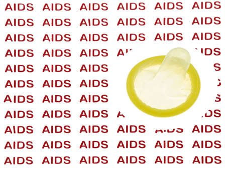 Condom preventing infection from the desease AIDS photo