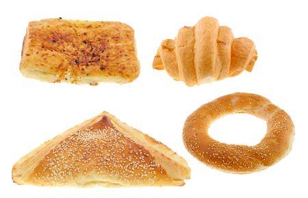 Isolated bakery products on white background
