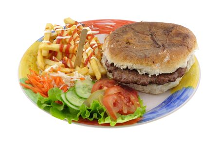 Popular fast food hamburger on plate isolated on white background