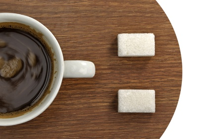 Smiley metaphor with cup of coffee and sugar cubes