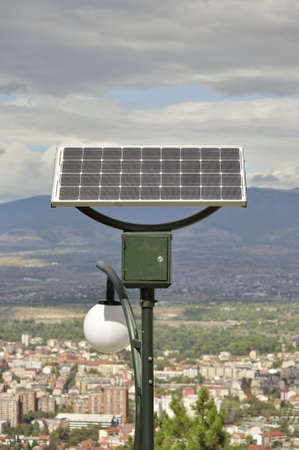 A solar panel powered street light bulbs