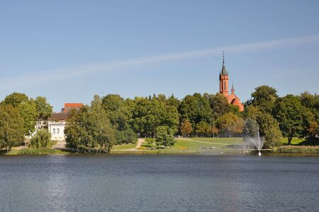 City park landscape by the lake in Drushkininkai, Lithuania