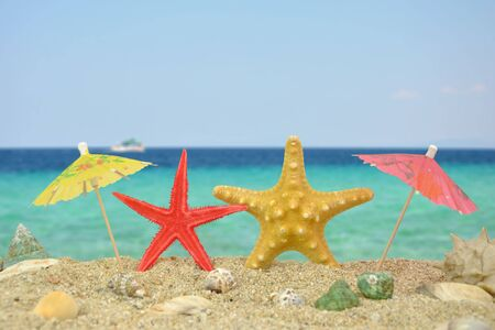 Summer scene #18 - Two star fishes with paper umbrellas