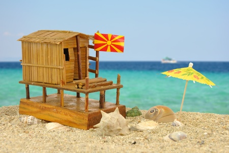 A composite photo with characteristic fisherman house maquette from Dojran, Macedonia