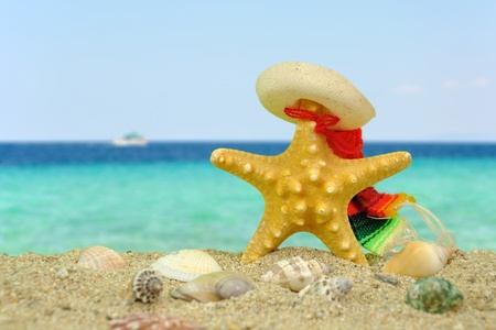 Summer scene #11 - Starfish with sombrero Stock Photo