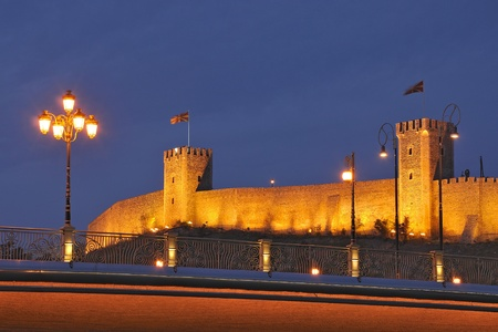 Skopje night scene - The Kale citadel and the bridge
