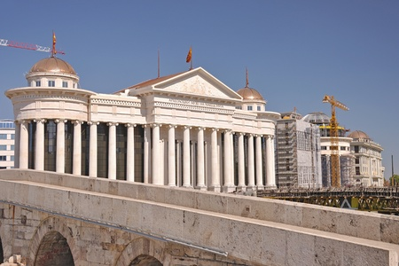 The new modern look of the Macedonians capital city Skopje - The city under constructon