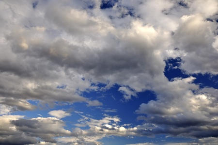 Dramatic clouds - clouds in diferent clours against deep blue sky  shoot 1 Stock Photo