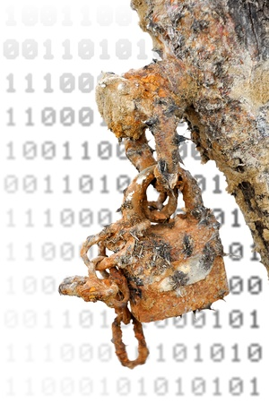 Rusted padlock against blurred surface - outdated security and antivirus software metaphor