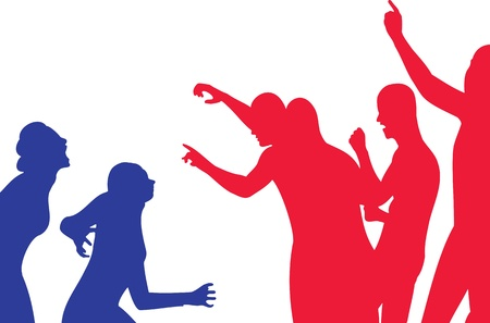 nonviolent: Conflict about freedom of speech -  silhouette illustration