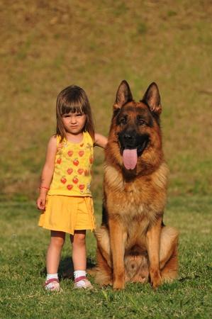 girl and dog photo