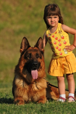 girl and dog photo