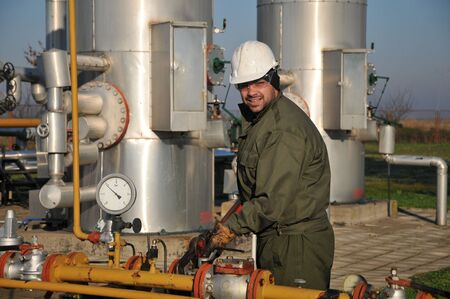 oil worker: worker in the oil industry Stock Photo