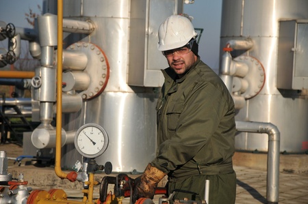 worker in the oil industry Stock Photo