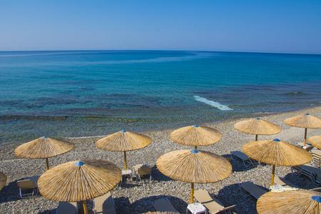 umbrellas on the sea beach Stock Photo