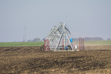 The new irrigation system in a field