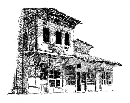 19th century style: Old Bazaar Old Town Sketch Illustration