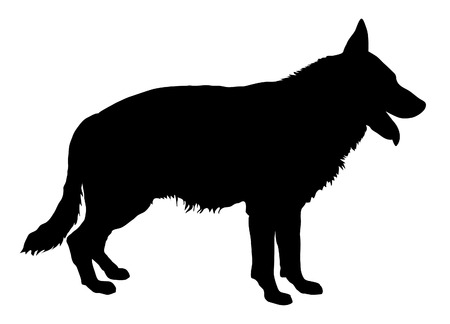 shepherds: German Shepherd - black silhouette Illustration