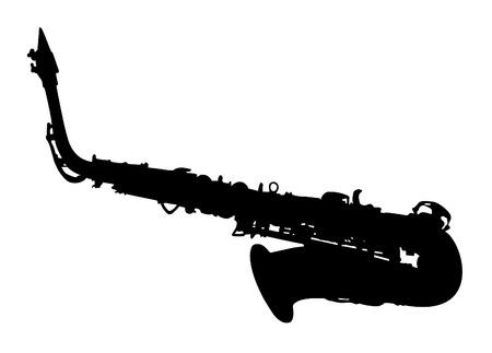 Saxophone-Silhouette Ilustração