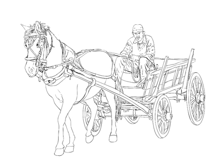horse and cart: Horse Cart Sketch Illustration