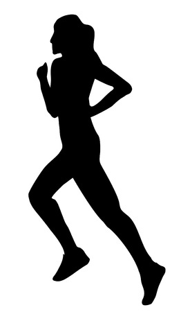 crosscountry: Running jogging woman silhouette Illustration
