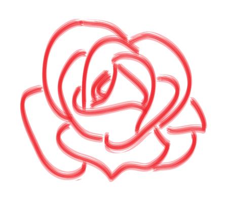 rosebud: Abstract Sketch Red Rose Illustration