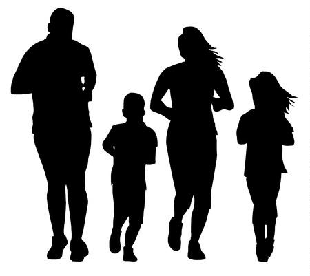 Family jogging exercising