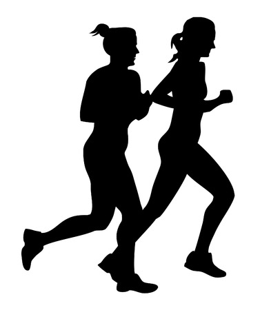 Two girls jogging Illustration