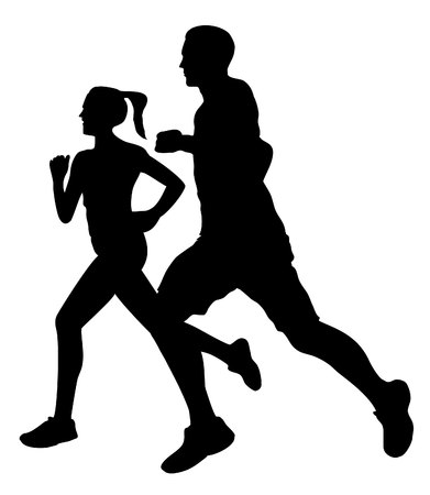 Couple jogging running exercising silhouette Banco de Imagens - 46113420