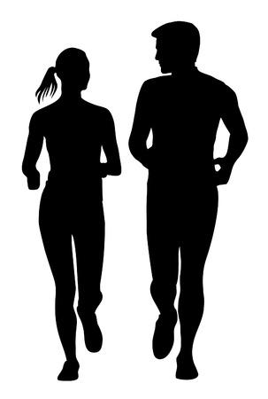 Paar jogging running uitoefenen silhouet Stock Illustratie