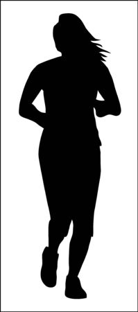 muscular build: Running jogging woman silhouette Illustration