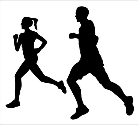 Couple jogging running exercising silhouette