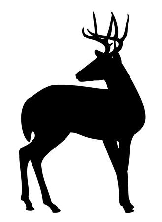 Een silhouet van een jonge mannelijke eland Stock Illustratie