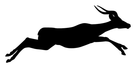 dignified: Antelope, black silhouette, white background