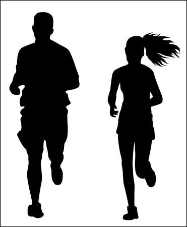 exercising: Couple jogging running exercising silhouette