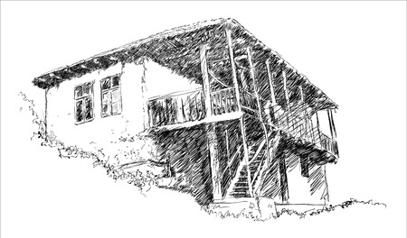 architecture drawing: Old Rural House Sketch Illustration