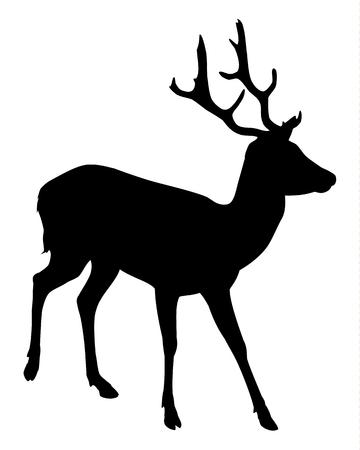 hoofed mammal: Elk Deer Silhouette Illustration