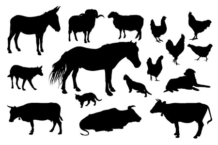 animal vector: Farm animals silhouette