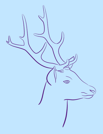 contrasts: Hand drawn vector illustration of deer. Isolated on turquoise background Illustration