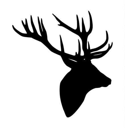 silhouette head: Black silhouette of a deer head and antlers