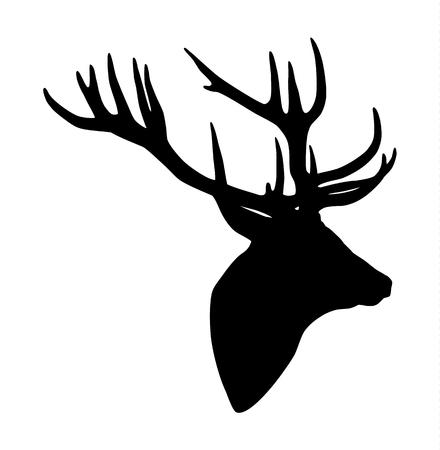Zwart silhouet van een hert hoofd en geweien Stock Illustratie